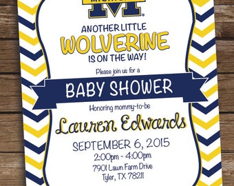 Michigan Wolverine Football Baby Shower Invitation - Birthday Party