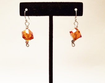 Coral Glass Cube Earrings