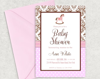Damask Baby Shower Invitation, Pink and Brown Baby Shower Invitation, Printable Invitation, Girl Baby Shower Invite