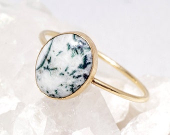 Marble Skinny Stacking Ring with Green Tree Agate