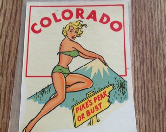 Vintage Travel Decal Pinup Hot Rod Rat Rod Colorado