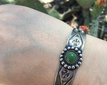 Vintage Navajo Fred Harvey Era Turquoise Thunderbird Cuff Bracelet