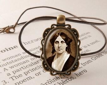 Louisa May Alcott Pendant Necklace - Little Women Jewelry, Literary Necklace, Poetry Pendant, Louisa May Alcott Jewellery