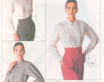 Vogue 2157 Misses' Vintage Calvin Klein Blouse Pattern in 3 Views (1988) Size 10
