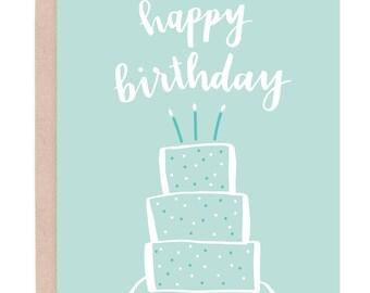 Happy Birthday Card. Birthday Cake Card. Birthday Cake Topper. Printable Birthday Card. Girl Birthday Card. Calligraphy Birthday Card.