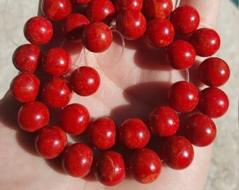 "Red Coral Strand of 12mm Beads 16"" Deep Red Coral Beautiful Beads Gorgeous"