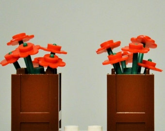 LEGO Flowers 12 Red and 2 Reddish Brown Planters