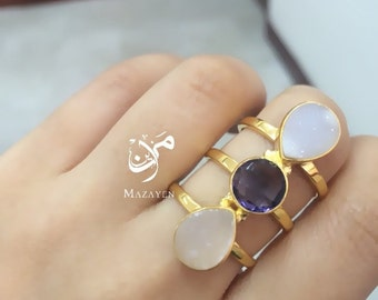 Ring with 3 stones (Gold plated 22k)