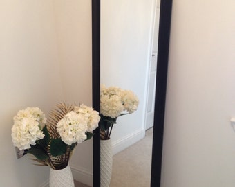 Black Obeche wood frame mirror 1500 x 400