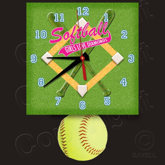 SoftBall Clock with Softball Pendulum • Girls Love Diamonds