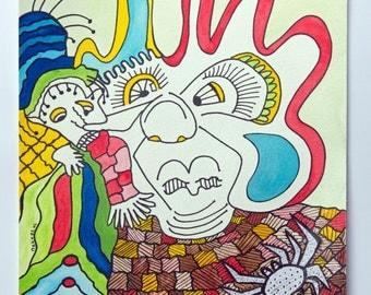 "Outsider art, free representation, Art Brut, singular art, folk art, fear, fright, spider phobia. ""Fear"" neko92vl. Mixed media."