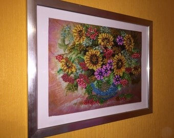 "Hand made 'Autumn bouquet.' Embroidered with Beads picture. (Картина ""Осенний букет"", вышивка бисером)."