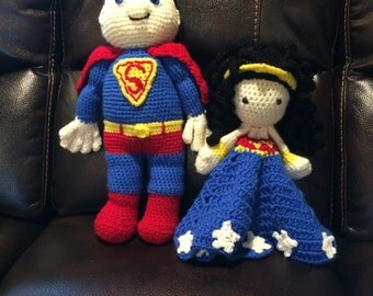 Crochet Superman or Wonder Woman Plush