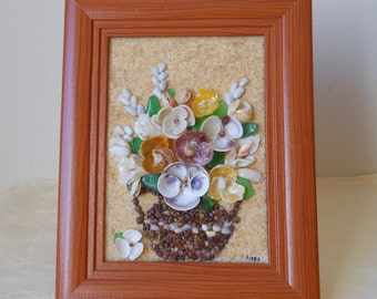 Vase of flowers. Box of shells and stones, artistic composition of natural materials, natural colors, unique piece, ornament, gift