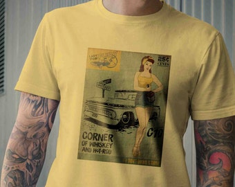 Corner of Whiskey and Hot Rod C10 Pick-up Truck w/ Pin-up Rockabilly Vintage Inspired mens Tee Shirt S M L XL 2XL 3XL