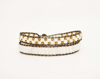 White Quartz and Gold Beaded Double Wrap Cuff on Pewter Tone Leather