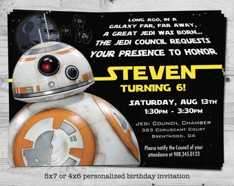 Star Wars BB-8 birthday invitation - personalized with your child's name - digital / printable