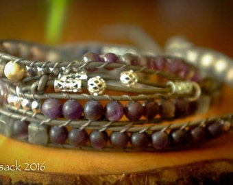 Amethyst, Labradorite and Fossil Jasper Four Wrap Bracelet with additional knotted and embellished wrap