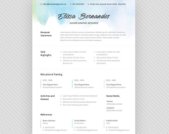 "Resume Template / CV Template + Cover Letter for MS Word and Photoshop | Instant Digital Download - ""Ice Cream"""