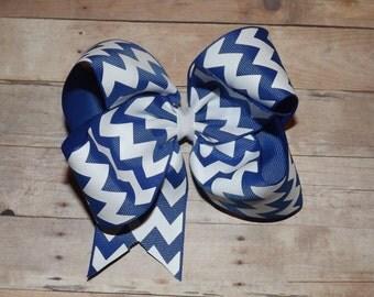 """6"""" Blue Chevron Print Boutique Hair Bow"""