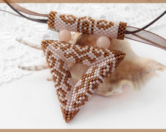 Beige Ethnic jewelry Beaded Triangle pendant Crochet beige necklace Beaded Christmas gift for sister New Year gift for girlfriend