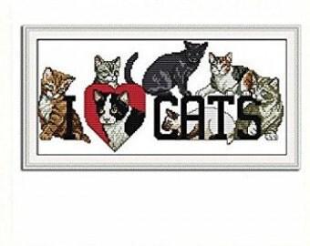 Love Cats Cross Stitch Kit