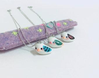 Whistle nightingale necklace, ceramic bird, cute bird jewelry