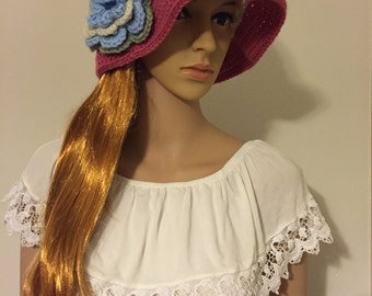 Pink Crochet Sun Hat with Flower