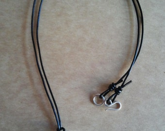 Silver unisex necklace leather