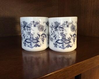 Vintage Blue Onion Milk Glass Mugs; Glasbake Blue Floral Mug-Set of 2