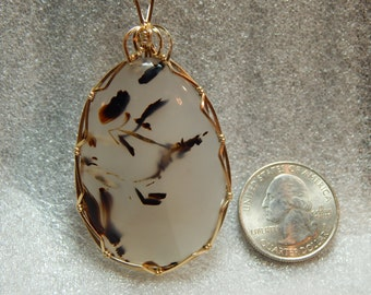 Natural Montana Agate Pendant Montana State Gemstone Wire Wrapped in Gold Fill Wire Moss Agate