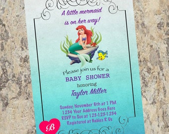 The Little Mermaid Baby Shower Invitation