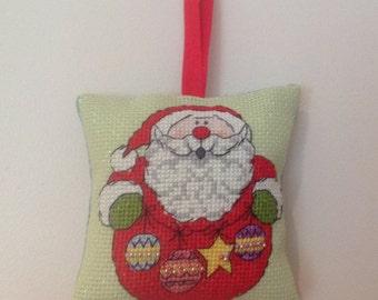 Hand sewn cross stitch Christmas decoration