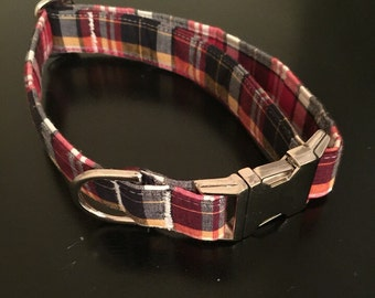 "Red/Navy/White/Yellow Plaid- The ""Cash"" Collar"
