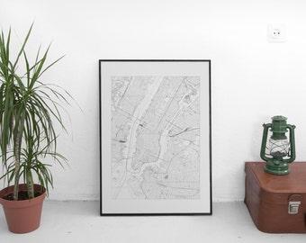 Street Map of New York City Manhattan Island