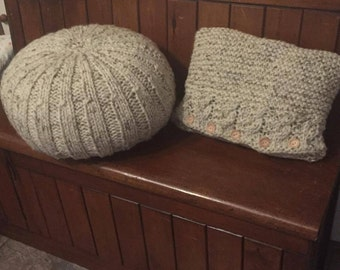 Matching super chunky knitted cushion and footstool