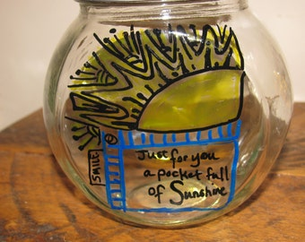 "Hand painted ""A pocket full of sunshine"" storage container"