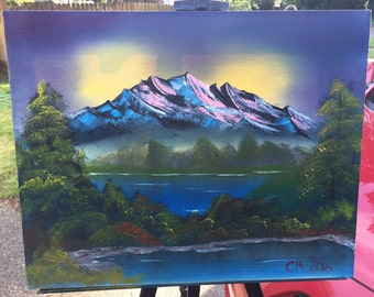 Original Bob Ross style oil painting mountain lake