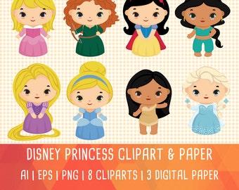 20% OFF Disney Princess Clipart, Cute princess Clip art, Disney party, princess birthday, digital clip art, digital images,vector clipart,