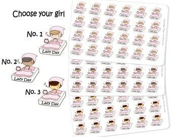 Lazy Day Girl Sticker, Lazy Day Stickers, Day Off Stickers, Kawaii Stickers, Girl Stickers, Lazy Day Planner Stickers