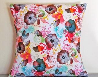 Throw Pillow Cover, Floral Cushion Cover, Floral Pillow Cover, Gift Ideas, Gifts under 20, 16x16 Pillow, Throw Pillow, Handmade, Pillowcase
