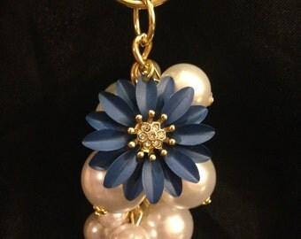 Blue Flower & Pearl Keychain