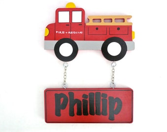 Kids Personalised Fire Truck Door Sign - Kids Nursery Decor - Boys name Plaque