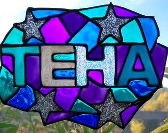 Faux Stained Glass Stars Name Suncatcher