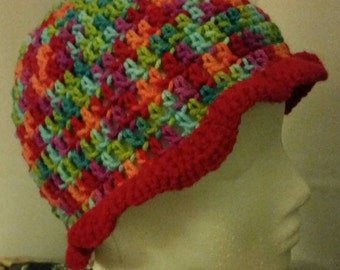 Crocheted, colorful, ruffle hat