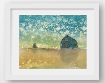 SUN SHOWER STROLL, limited edition fine art print, Haystack Rock, Cannon Beach, Oregon Coast, coastal art