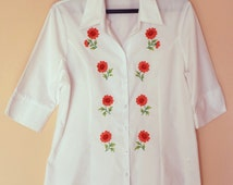 Woman's flowers satin stitch white blouse  Floral embrodery top White Blouse