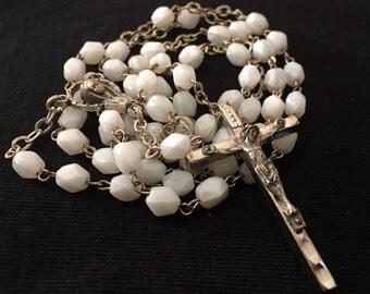 Vintage white rosary, glass bead rosary, Made in Italy, Italian rosary