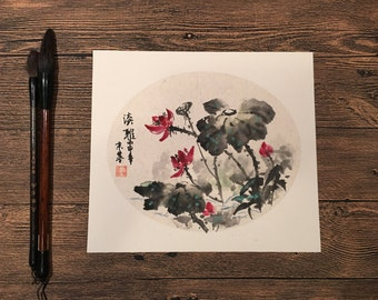 Original Chinese Ink and Wash Painting - Beautiful Zen Lotus Flower,  25x27cm,Chinese Painting, Wall Art, Home Decor, Great Gift!