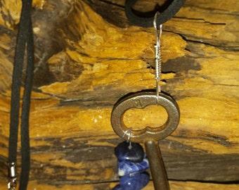 Vintage Skeleton Key with Sodalite Necklace